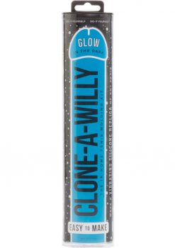 Clone A Willy Silicone Vibrating In Home Penis Molding Kit Glow In The Dark Blue