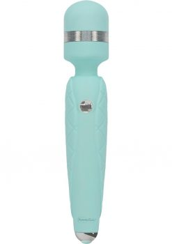 Pillow Talk Cheeky Silicone USB Rechargeable Massager Wand With Swarovski Crystal Teal