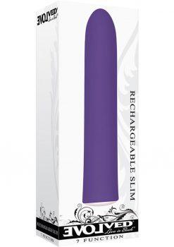 7 Function Rechargeable Slim Vibrator Waterproof Purple
