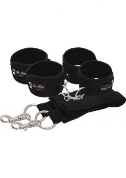 Lux Fetish Bed Spreader Restraint System 7 Piece Set Black
