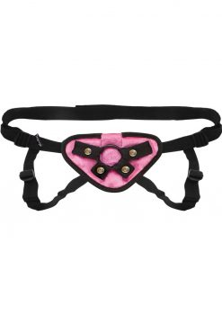 Lux Fetish Pink Velvet Strap-On Harness Adjustable