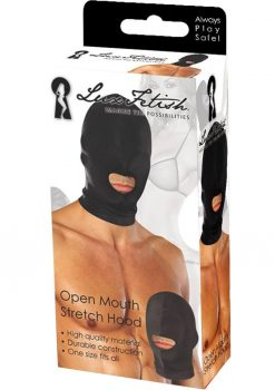 Lux Fetish Open Mouth Stretch Hood Black One Size Fits All