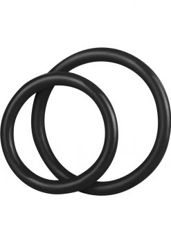 CandB Gear Silicone Cock Ring Set Black 2 Each Per Set