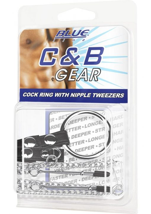 CandB Gear Cock Ring With Nipple Tweezers
