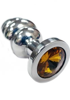 Rouge Jewelled Threaded Anal Butt Plug Small Stainless Steel Yellow Jewel