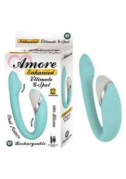 Amore Enhanced Ultimate G-Spot Dual Motors USB Rechargeable Silicone Vibe Waterproof Aqua 5 Inch