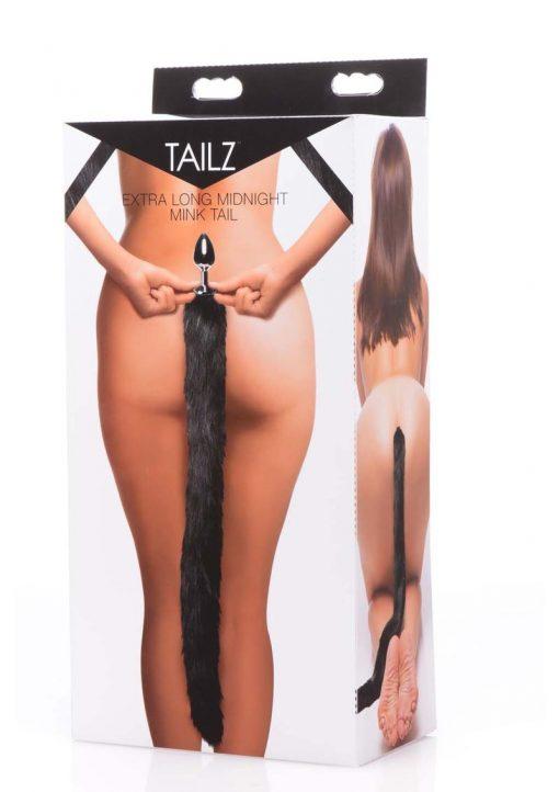Tailz Mink Tail Butt Plug Black 4.5 Inch