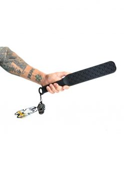 Bone Yard Spank Silicone Skull Textured Paddle Black 14.75 Inch