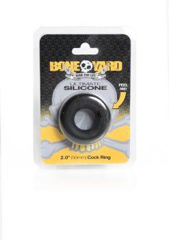 Bone Yard Ultimate Silicone Cockring Black 2 Inch Diameter