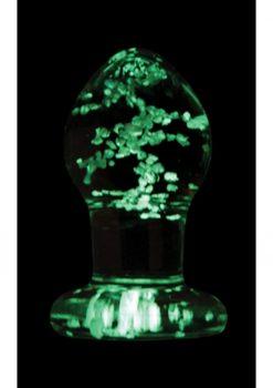 Firefly Glass Plug Glow In The Dark Small Anal Plug - Clear 2.5 Inch