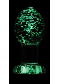 Firefly Glass Plug Glow In The Dark Medium Anal Plug - Clear 3 Inch