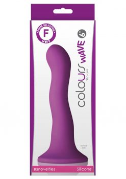 Colours Wave 6in Purple Silicone Dildo Non-Vibrating Suction Cup Base