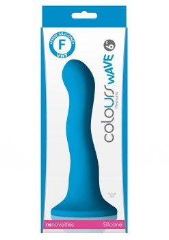 Colours Wave 6in Blue Silicone Dildo Non-Vibrating Suction Cup Base