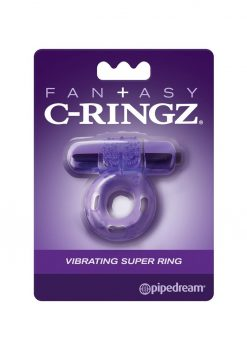 Fantasy C-Ringz Vibrating Super Ring Textured Cockring Waterproof Purple 2.32 Inch Diameter