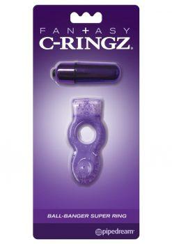 Fantasy C-Ringz Ball-Banger Super Ring Vibrating Textured Cockring Waterproof Purple