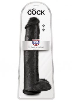 King Cock Realistic Dildo With Balls Black 15 Inch