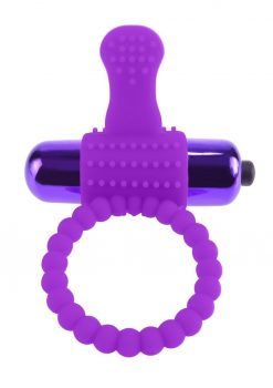 Fantasy C-Ringz Vibrating Silicone Super Ring Textured Cockring Waterproof Purple 2.32 Inch Diameter