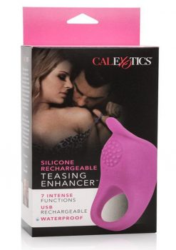 Silicone Rechargeable Teasing Enhancer Cockring Waterproof Pink