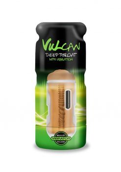 Vulcan Cyberskin Deep Throat Masturbator Stroker Textured With Vibrating Bullet Mocha