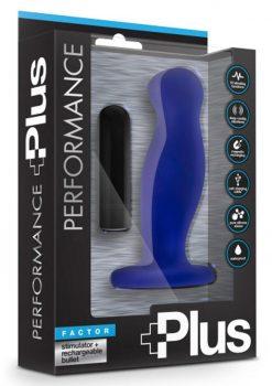 Performance Plus Factor Vibrating Prostate Stimulator Silicone Waterproof Indigo