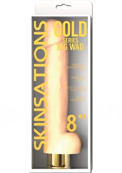 Skinsations Gold Big Wad Realistic Bendable Vibrating Dildo With Balls Water Resistant Flesh 8 Inch