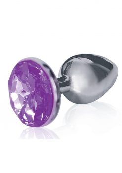 The Silver Starter Jeweled Round Plug Stainless Steel Violet Gem 2.8 Inch