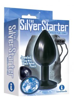 The Silver Starter Jeweled Round Plug Stainless Steel Black And Cobalt 2.8 Inch