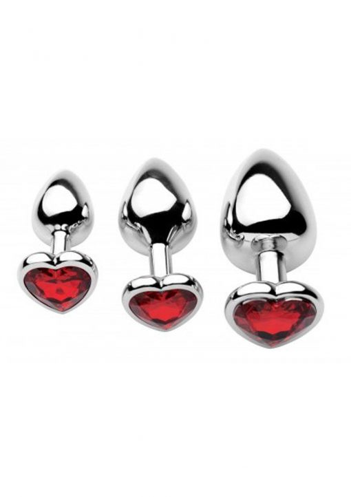 Frisky Chrome Hearts 3 Piece Anal Plugs With Gem Accents