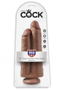 King Cock Two Cocks One Hole Realistic Dildo Tan 9 Inch
