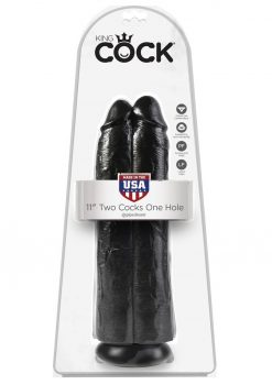 King Cock Two Cocks One Hole Realistic Dildo Black 11 Inch