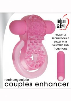 Adam and Eve Couples Enhancer Penis Ring Rechargeable Pink