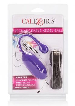 Rechargeable Kegel Ball USB Recharge Silicone Ball Waterproof Purple 3 Inch