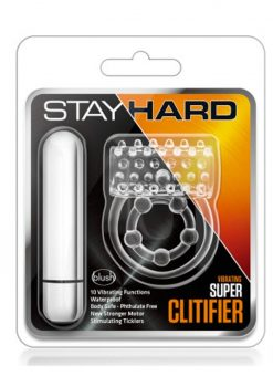 Stay Hard Vibrating Super Clitifier Cock Ring Waterproof Clear