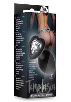 Temptasia Bling Silicone Anal Plug Small Black 3 Inch