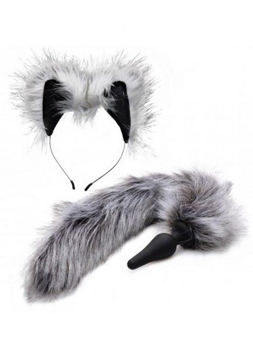 Tailz Grey Wolf Tail Silicone Anal Plug And Ears Set