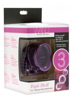Wand Essentials Triple Thrill 3 in 1 Silicone Wand Attachment Purple