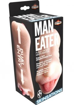 Skinsations Man Eater Pussy/Mouth Masturbator Textured Dual Entry Stroker Flesh