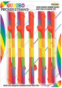 Rainbow Pecker Straws 10 Each Per Pack