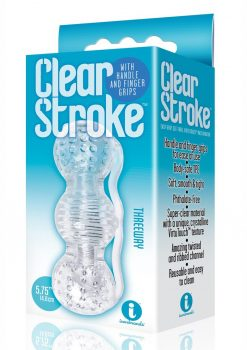 The 9`s Clear Stroke Threeway Masturbator Clear 5.75 Inch