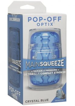 Main Squeeze  Pop Off Optix Compact Stroker Textured Crystal Blue 4 Inches