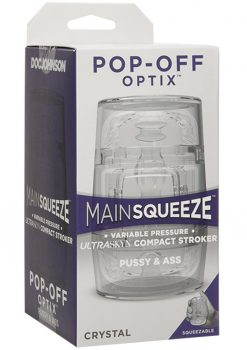 Main Squeeze  Pop Off Optix Compact Stroker Textured Pussy and Ass Crystal 4 Inches