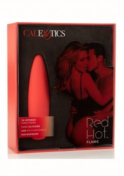 Red Hot Flame Bullet Silicone Rechargeable Waterproof Red