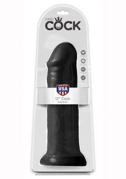 King Cock Realistic Dildo Black 12 Inch