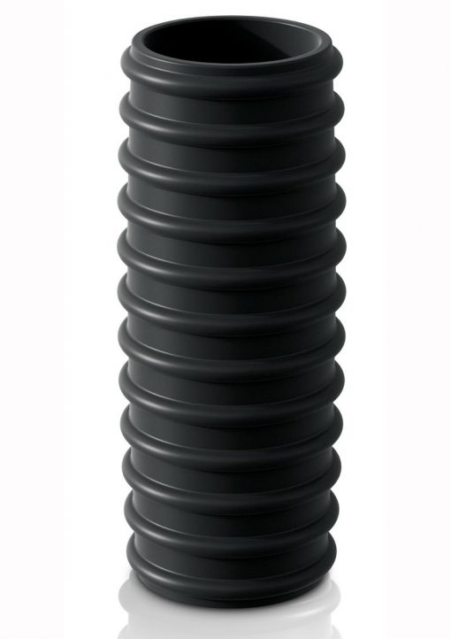 Sir Richards Control Ribbed Erection Enhancer Silicone Black 4 Inches