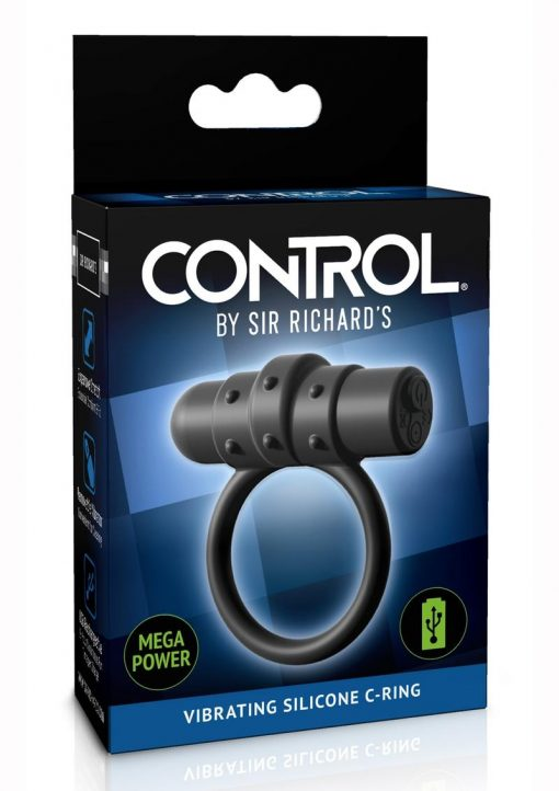 Sir Richards Control Vibe Cock Ring Silicone Rechargeable Waterproof Black