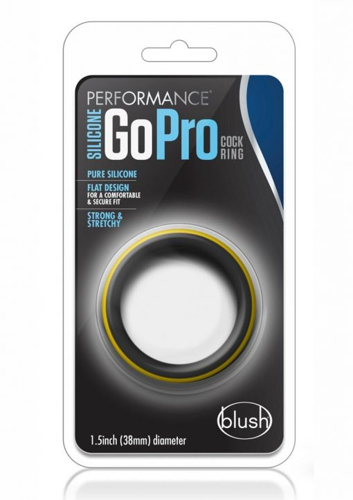 Performance Silicone Go Pro Cock Ring Black/Gold 1.5 Inch Diameter