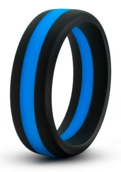 Performance Silicone Go Pro Cock Ring Black/Blue 1.5 Inch Diameter