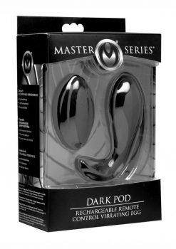 Master Series Dark Pod USB Rechargeable Wireless Remote Control Vibrating Egg Waterproof Black 3.6 Inch