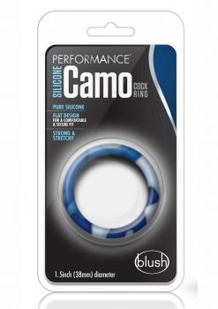 Performance Silicone Camo Cock Ring Blue Camouflage 1.5 Inch Diameter