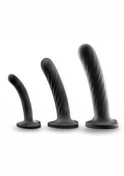 Temptasia Twist Dildo Kit Set Of 3 Silicone - Black